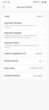 Xiaomi Mi Band 6 firmware čeština