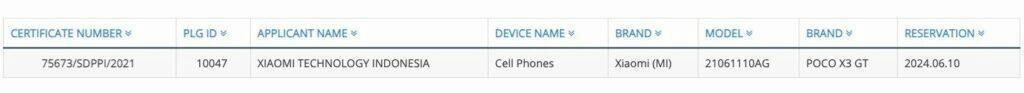 Xiaomi POCO X3 GT certifikace