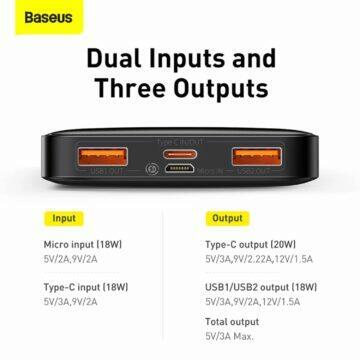 Baseus 20W 20000mAh powerbanka konektory