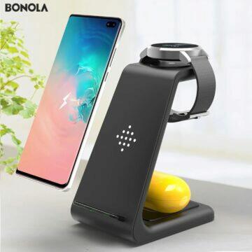 Bonola Qi 3 in 1 nabíječka telefon sluchátka hodinky