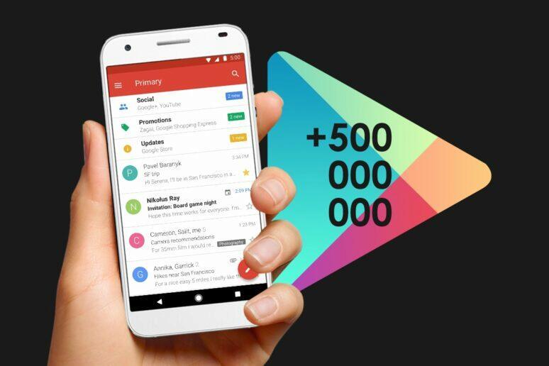Gmail Go 500 milionů stažení Obchod Play
