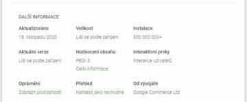 Gmail Go Obchod Play 500 milionů stažení