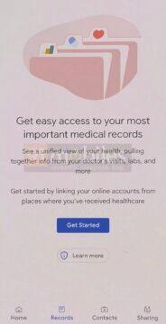Google aplikace zdravotní záznamy screenshot karty