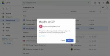 Google Disk blokování uživatelů dialog