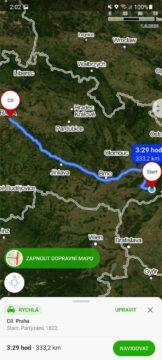 Mapy.cz hlasové vyhledávání příkazy výsledek trasa