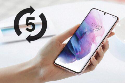 pětiletá podpora telefony tablety Samsung