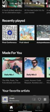 Spotify aplikace spodní menu redesign nové