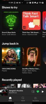 Spotify aplikace spodní menu redesign staré