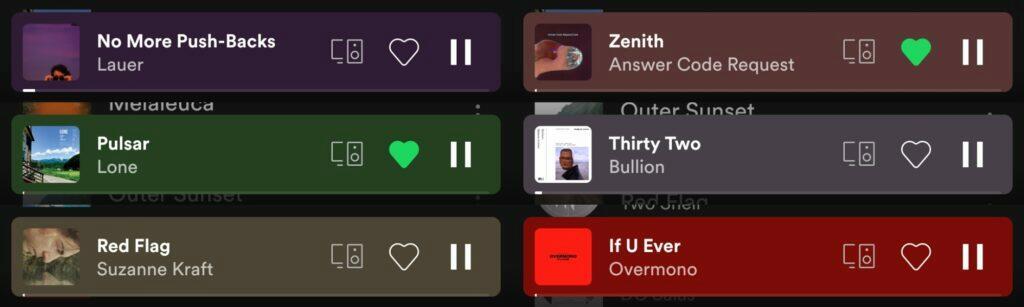 Spotify aplikace spodní menu redesign tlačítka průhlednost