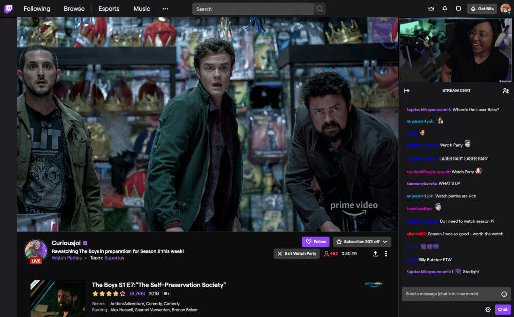 Twitch pro Android stream Watch party amazon prime