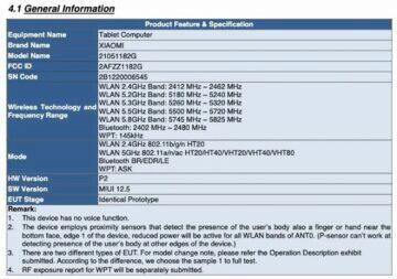 Xiaomi Mi Pad 5 FCC certifikace 1