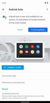 Android Auto for phone screens Google Asistent driving mode oznámení