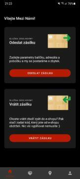 aplikace Zásilkovna test 1 hlavní karta