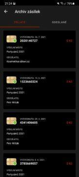 aplikace Zásilkovna test 5 archiv přijaté