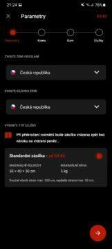 aplikace Zásilkovna test odesílání 1 země balík