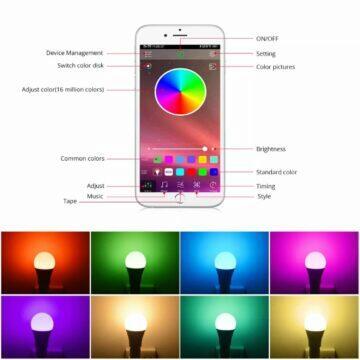 Bluetooth RGB E27 žárovka aplikace