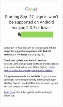 Google aplikace přihlášení Android 2.3.7 upozornění