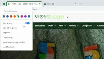 Google Chrome skupiny karet ukládání ukázka