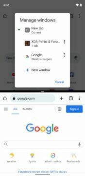 Google Chrome více oken Android 12 manage windows