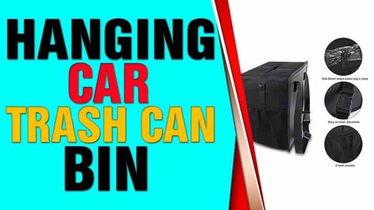 Hanging Car Trash Can Bin - PowerTiger Car Garbage Cans Bag with Lid & 3 Mesh Storage Pock