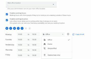 Kalendář Google home office hodiny
