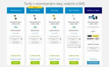 O2 neomezená data tarify