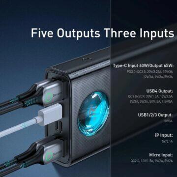 Powerbanka Baseus 65 W 30000 mAh výstupy