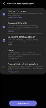 Samsung Internet 15 Odstranit data