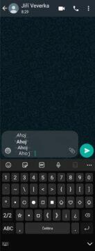 WhatsApp formátování textu aplikace ukázka