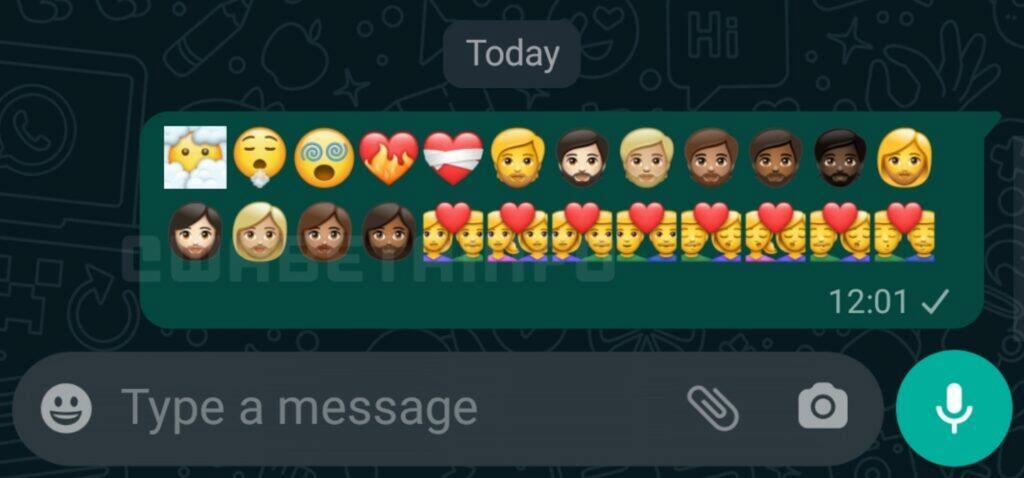 WhatsApp nové Emoji Unicode 13.1 náhled