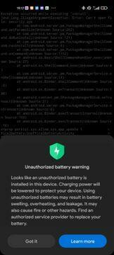 xiaomi upozornění na neoriginalni baterii