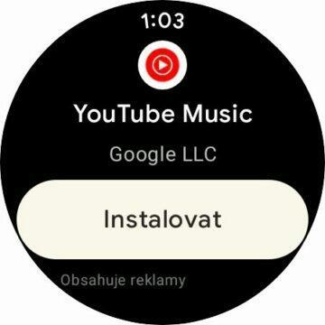 YouTube Music aplikace Wear OS hodinky Obdhod Play instalace