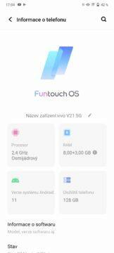 Vivo v21 5G aktualizace