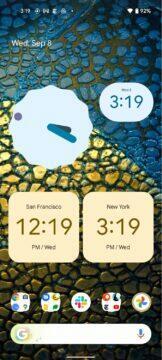 Google Hodiny Material You Android 12 widgety žlutá modrá