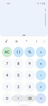 Google Kalkulačka Material You Android 12 design světlá základní