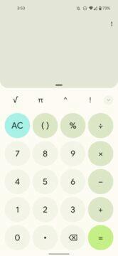 Google Kalkulačka Material You Android 12 design světlá zelená