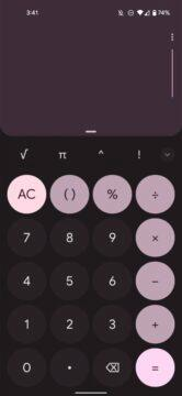 Google Kalkulačka Material You Android 12 design tmavá růžová
