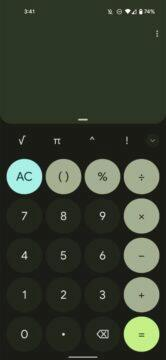 Google Kalkulačka Material You Android 12 design tmavá zelená