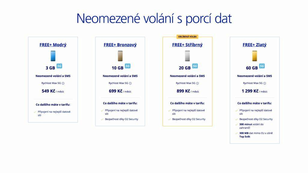O2 FREE+ tarify 2021