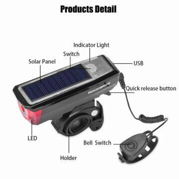 ROCKBROS světlo na kolo se solárním nabíjením
