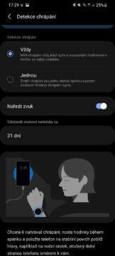 Samsung Health 6 chrápání