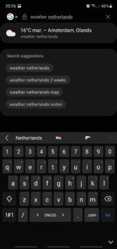 Samsung Internet 16 beta našeptávání počasí
