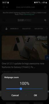 Samsung Internet 16 beta zoom 100