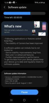 Samsung RAM Plus Galaxy A52s 5G aktualizace
