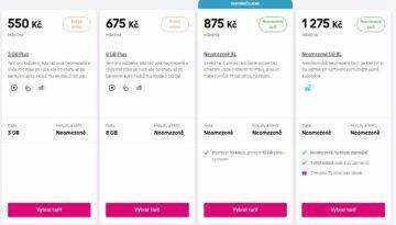 t-mobile nové tarify s neomezenými daty