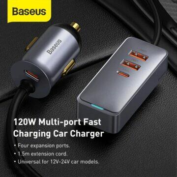 USB 120W adaptér a prodlužovačka Baseus do auta