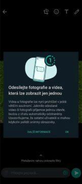 WhatsApp mizející fotky videa test informace