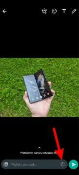 WhatsApp mizející fotky videa test tlačítko