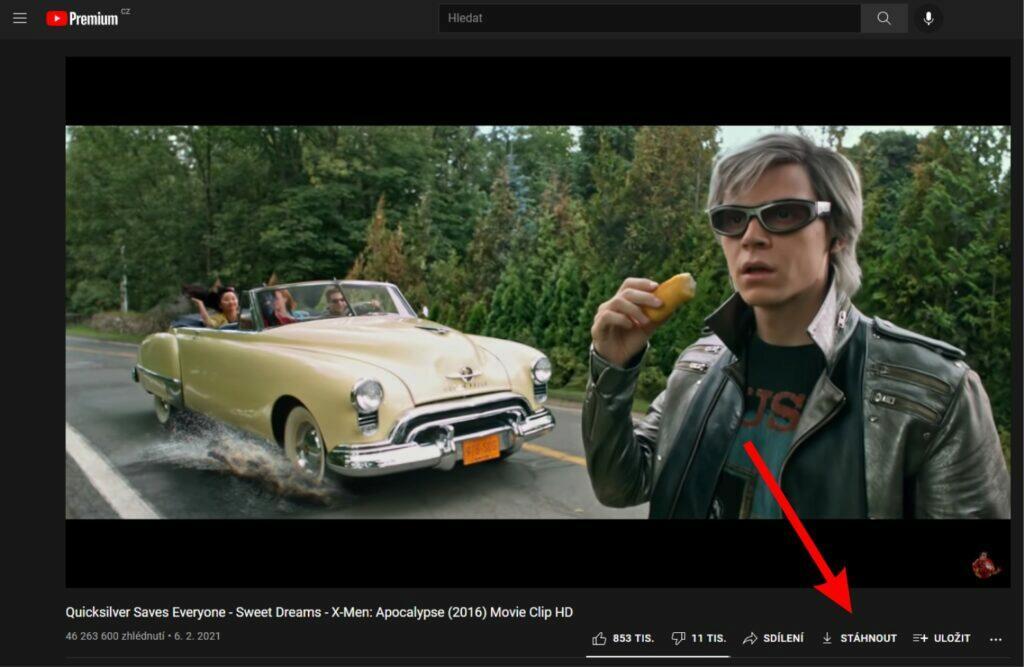 YouTube stahování offline sledování videí tlačítko