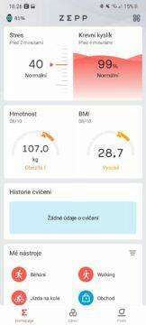 Zepp aplikace hlavní karta 2
